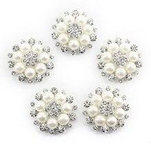 5 pçs 30mm cristal strass botões pérola flor enfeites botões flatback diy fivelas para casamento jóias sapatos decoração