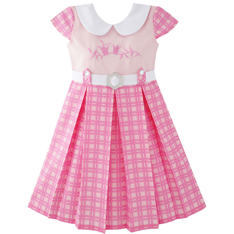 Girls Dress Pink Belted School Uniform Pleated Hem 2019 Summer Princess Wedding Party Dresses Clothes Size 4-14