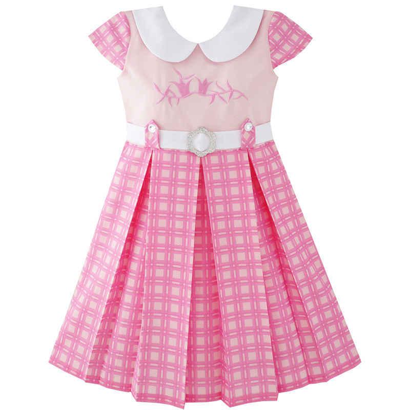 Sunny Fashion платья для девочек Розовый опоясанный Школьная форма Плиссированный Кромка