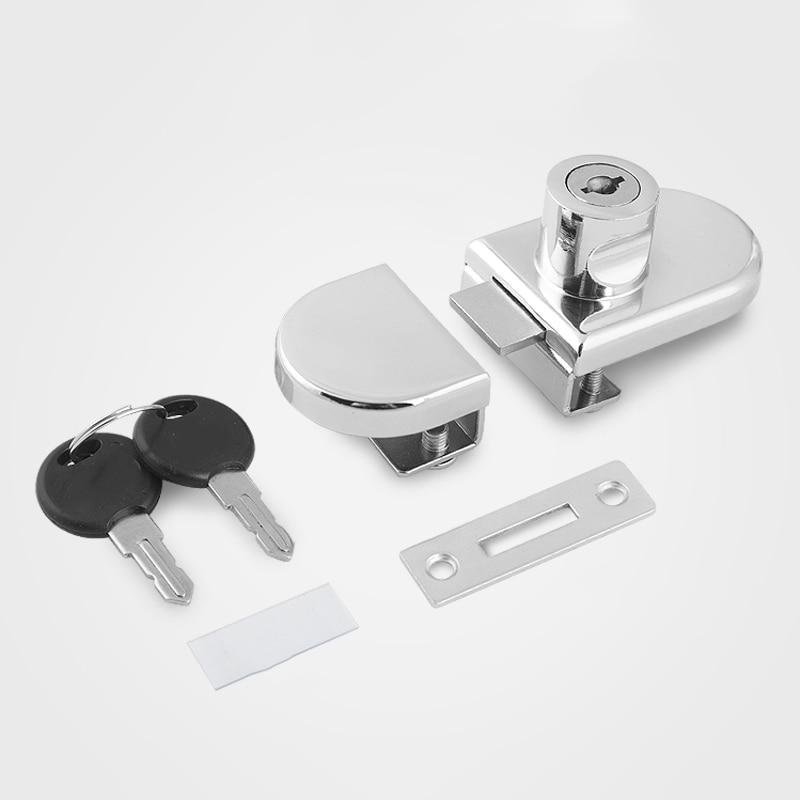 Creative Glass Door Lock Punch-free Display Cabinet Double Door Lock Keys Zinc Alloy Door Safe Accessories