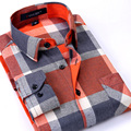 Autumn 2017 New Flannel Men Plaid Shirts Luxury Slim Long Sleeve Brand Design Formal Business Fashion Dress Warm Shirts