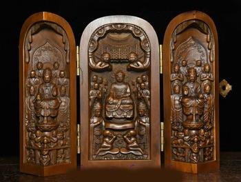 wedding decoration Tibet Buddhism Boxwood Wood Carving Sakyamuni GuanYin Arhat Buddha Statue Box