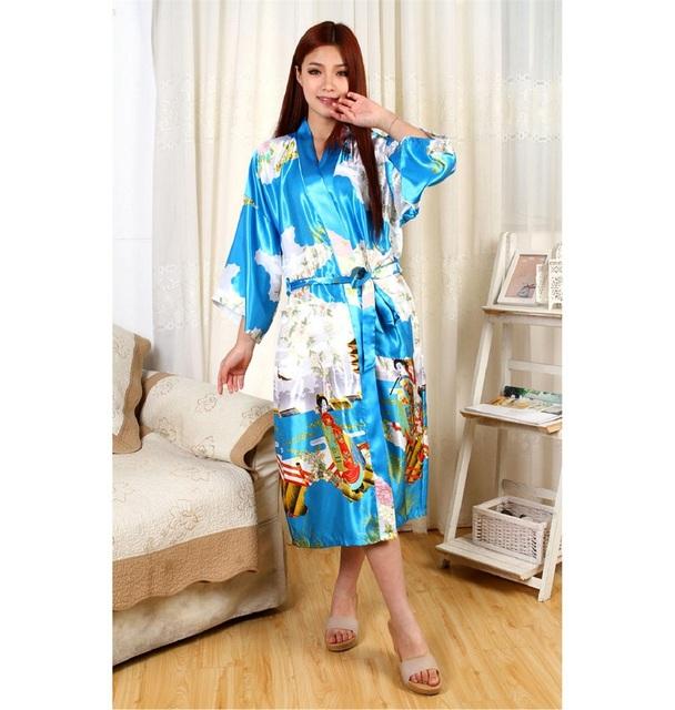 'Mulher de alta Luz Azul Moda Chinesa Tradição vestido de Banho de Seda roupão de banho Vestido Kimono Kaftan Flor S M L XL XXL XXXL