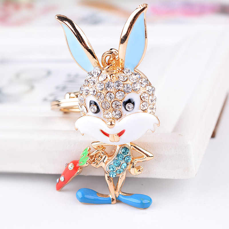Bonito Rhinestone Animal 8 cm Rabbit Fur Pom Pom Coelho Casal Chaveiro Chaveiro Auto Chave Titular Saco do Anel Chave charme Presente Pingente
