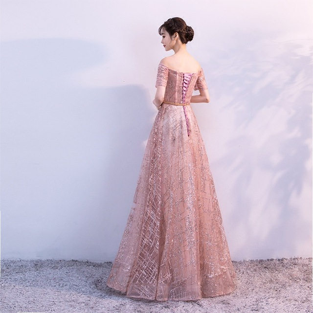 It's Yiiya Luxury Boat Neck Off The Shoulder Bling Sequined Lace Up Evening Dresses Backless Floor Length Party Gown MX011 3
