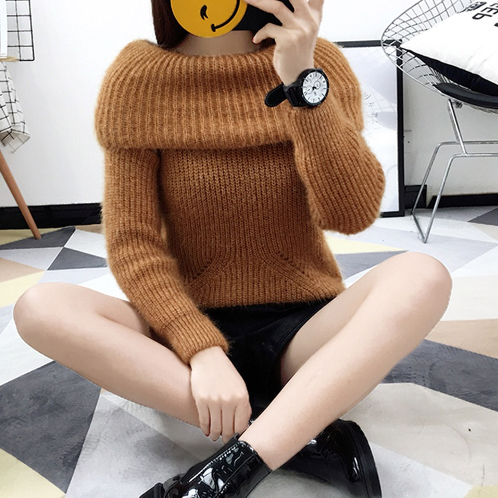2018 Winter Casual Elegant Beige Office Lady Vintage Women Tops Slim Thick Plain Slash Neck Female Fashion Gray Sweet Sweaters 4