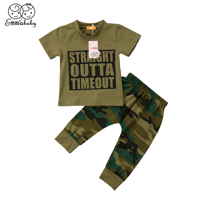 Baby Boy Clothes 2018 Newest Summer Kids Boy Girls Letter Printed Short Sleeve T-shirt+Long Pants 2pcs Newborn Baby Girl Clothes