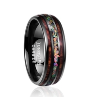 Top Qualitly 8mm Wide Dome Black Acacia Wood Opal Tungsten Steel Ring Men's Wedding Band Ring Bridal Jewelry Free Shipping