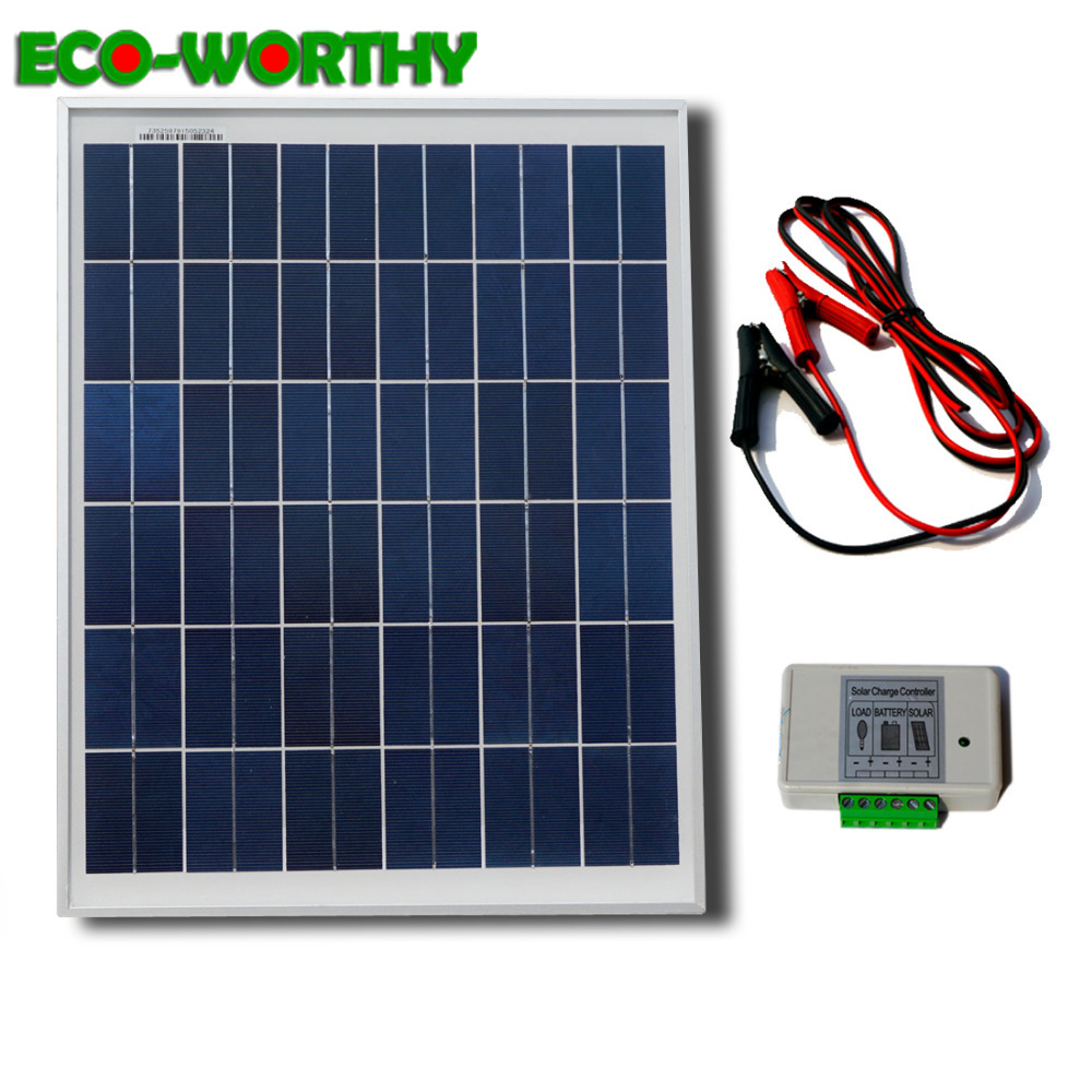 ECOWORTHY 25W 18V solar power panel 3A solar controller 2m cable Crocodile clip for 12V battery