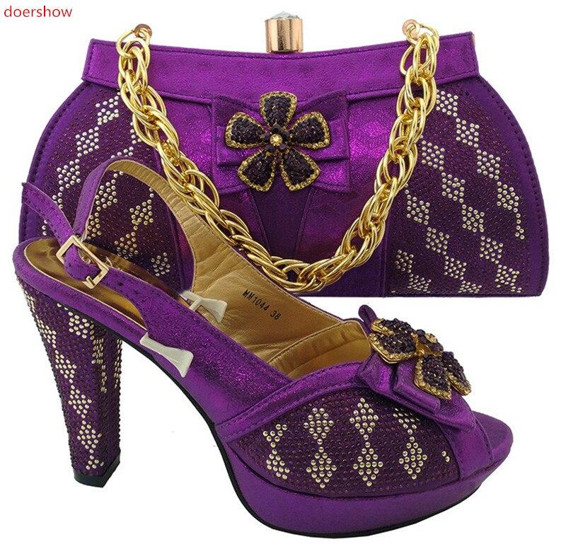 Correspondant Chaussures Fête Avec 6 Femme Mode De Sacs StrassTr1 Et Italien Doershow Italiennes Sac Ensemble kuPZiX