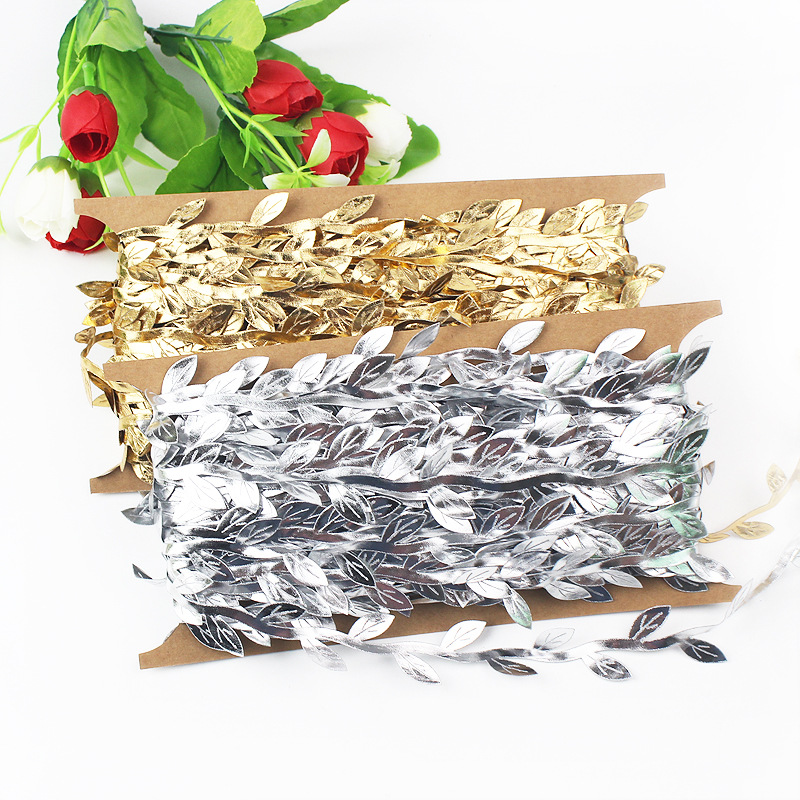 30m lot Sparkly Gold Silver Rattan Emulate Leaves Flowers Garlands for Wedding Party Home Furnishing DIY Decorative Supplies in Artificial Dried Flowers from Home Garden