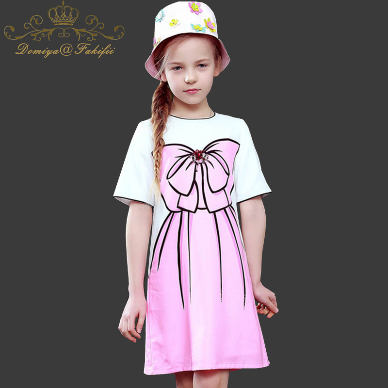 baby girl dress 2018 Summer Brand Princess Dress for Kids Clothes Flower Dresses Girls Costume Bownot Print Children Vestidos girls summer dress printed princess dress children costume for kids clothes baby dress