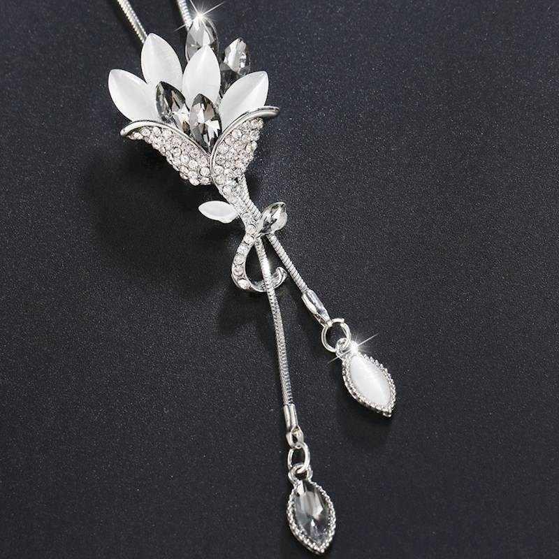 Meyfflin Collier Femme ดอกไม้คริสตัลยาวสร้อยคอและจี้ Vintage Chain Opal Leaf Maxi สร้อยคอแฟชั่นเครื่องประดับสำหรับผู้หญิง