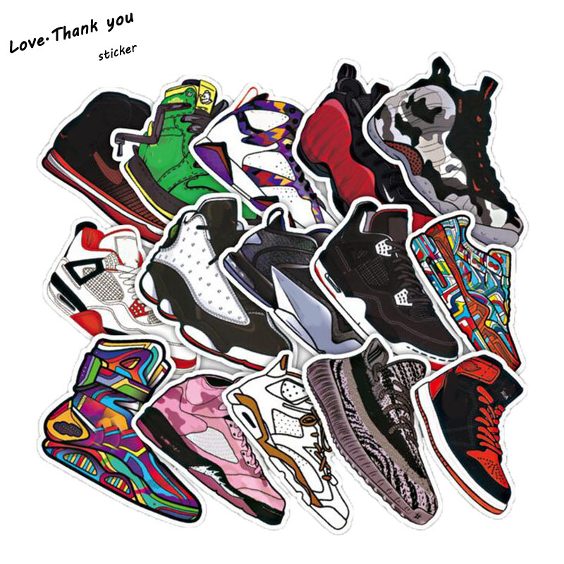 50pcs lot Basketball Sneakers Sticker Waterproof Stickers For Wall Fridge Travel Suitcase Bike Sliding Plate Car