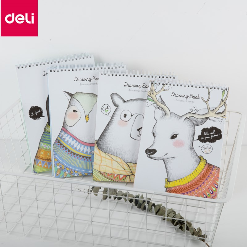 Deli notebook planner Hand-painted sketchbook art this drawing blank paper student sketching this drawing picture book drawing kicute 1pc art thick blank paper sketchbook drawing book for drawing painting sketch scrawl student stationery pattern random