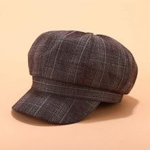 Autumn Winter octagon hat female retro British grid painter cap Vintage Plaid simple trend beret Women