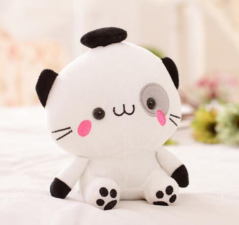 Игрушек! Супер милые плюшевые игрушки милая пара мини Кот с большой мордочкой котенок мягкая игрушка кукла День рождения Рождественский подарок 1 шт - Цвет: white