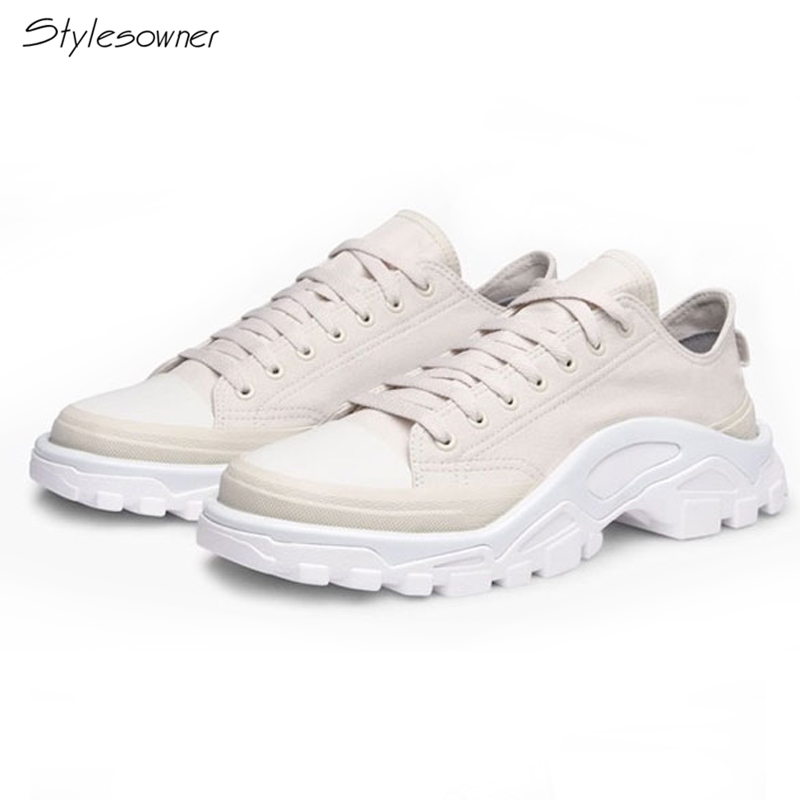 Stylesowner Chic Brand Canvas Lace-Up Sneakers Mixed Color Thick Sole Casual Sneakers Ulzzang Women Lovers Shoes New 2018 Big44 fabra new brand thick canvas