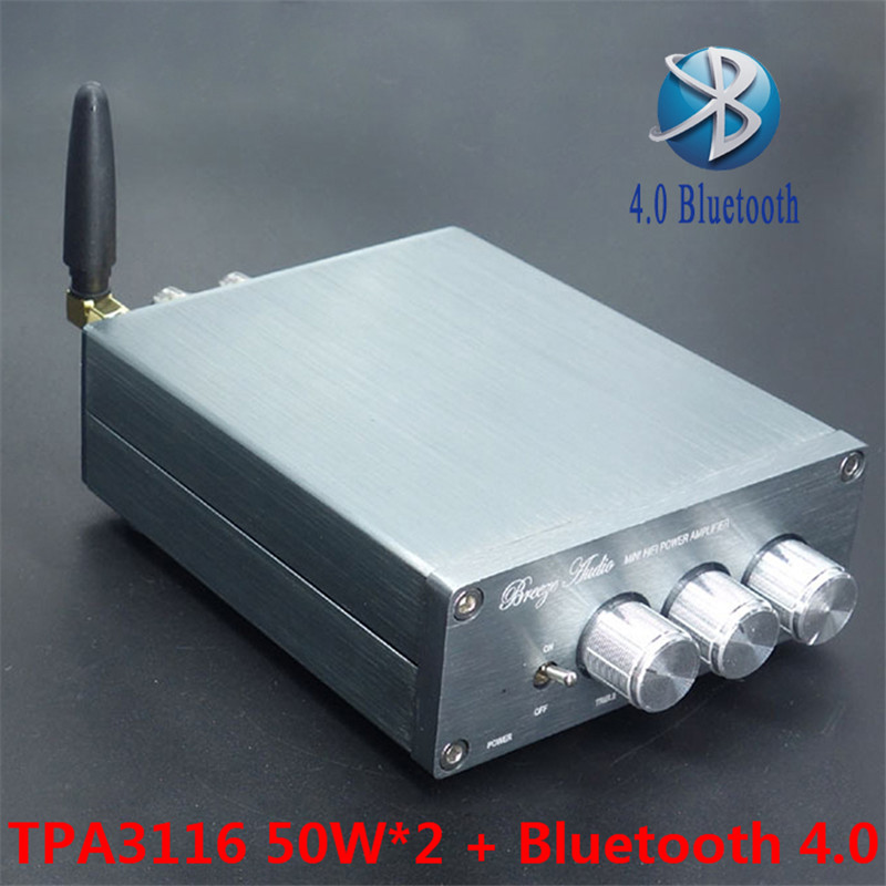 2016 Newest BL10A TPA3116 Bluetooth 4.0 Hifi Audio Digital Power  Amplifier 50W+50W 24V Finished Amplificador Home AMP Sliver