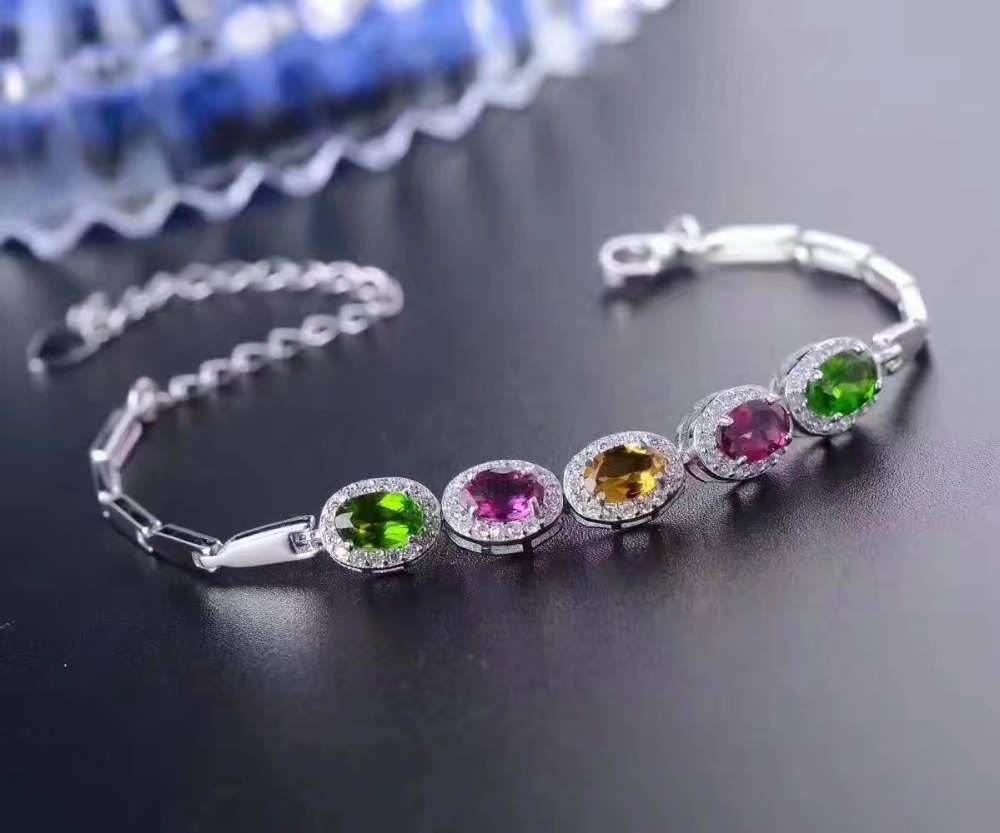 LANZYO 925 Sterling Silver Tourmaline Bracelets Candy color Bracelet fine jewelry for women wholesale l040603agx