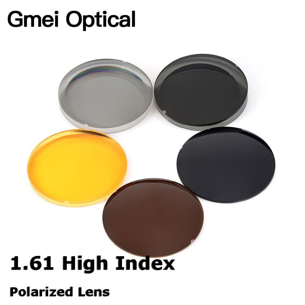 Gmei Optical 1.61 High Index Thin Polarized Sunglasses Lenses 5 Colors Optional Single Vision Prescription Optical Lenses 2 PCS