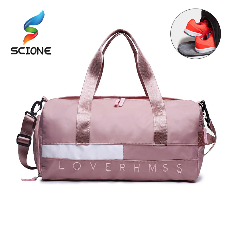 Outdoor Waterproof  Nylon Sports Gym Bags Men Women Training Fitness Travel Handbag Yoga Mat Sport Bag With Shoes Compartment(China)