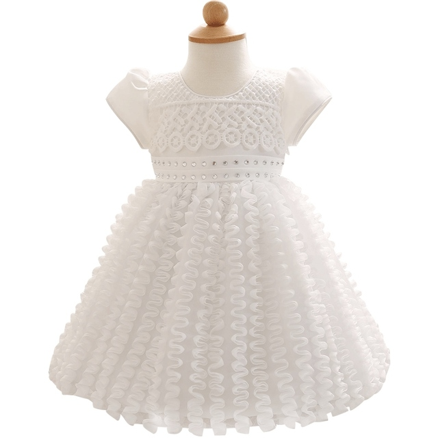1 Years Christening Party Toddler Dresses For Newborn Short  Sleeve Print Pattern Wave Newborn Tutu Dresses Infant Vestidos