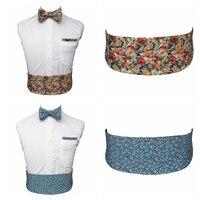 JEMYGINS 100 Cotton High Quality Printing Floral Self Men Bow Tie Pocket Square Cummerbund For Gentleman
