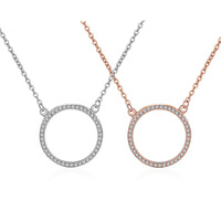Charm Rose Gold Shiny Crysral Circles 925 Silver Chain Necklaces Pendants For Women Zircon Paved Round