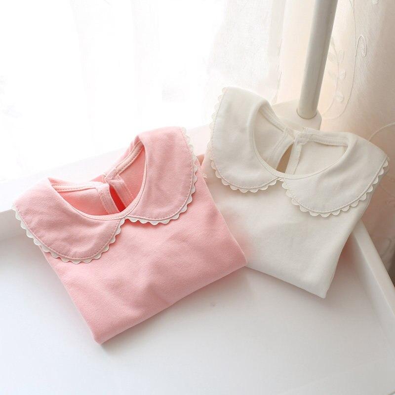 Spring autumn baby girls cotton sweet t-shirt infant t shirt girls clothes toddle peter pan collar tees kids tops children tees