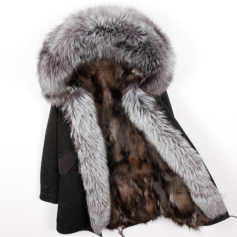 2018 новый натуральный Лисий Мех Лайнер Длинные зимняя куртка Для женщин пальто из натурального енота меховой воротник капюшон толстые теплы...