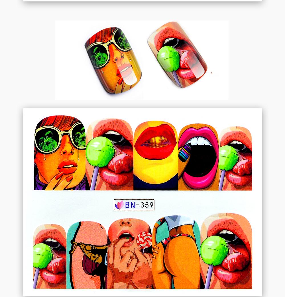 1 Sheet 17 New Nail Fashion Sticker Full Cover Lips Cute Printing Water Transfer Tips Nail Art Decorations 10