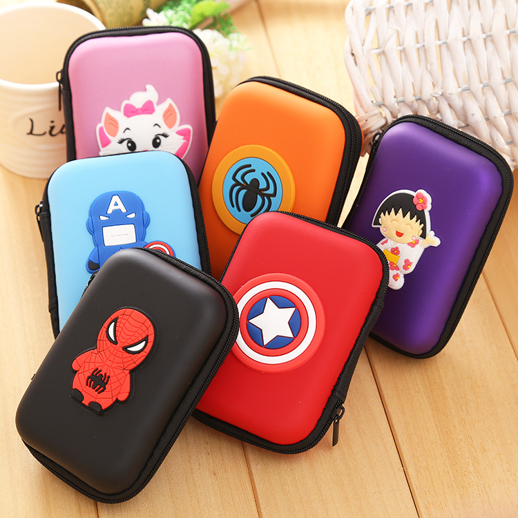 Mini Package Wallets Bags Digital EVA Earphone Pouch Case Cute Cartoon Anime Gift Pouch Square Rectangle Silicone Coin Purse