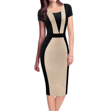 Summer Dress Women 2016 Vestidos Plus Size Fashion Contrast O neck Bandage Dress Casual robe femme