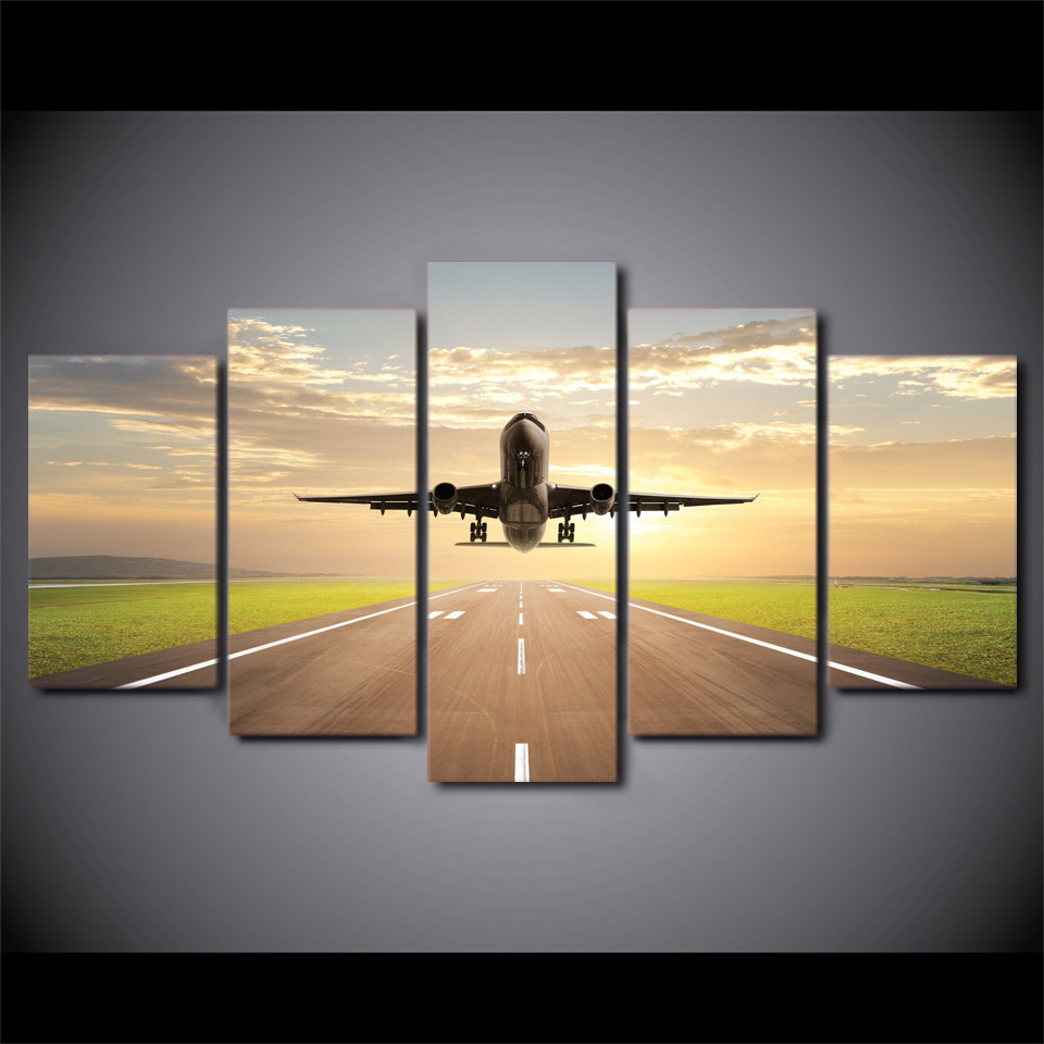 5 Piece Canvas Art Taking Off Plane HD Printed Aircraft Painting Wall Pictures For Living Room Free Shipping XA1713A In Calligraphy From
