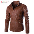 2016 Autumn PU Leather Jacket Men Multi-pocket Motorcycle Jacket Stand Collar Mens Jackets And Coats Slim Fit Men Jacket