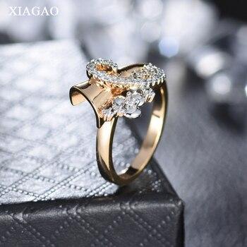 5207e211a493 XIAGAO nueva llegada anillo de diseño infinito para chica anillos de dedo  de color dorado para mujer accesorios de fiesta de boda de lujo joyería  XGR623