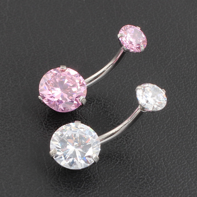 AAA + CZ vòng Zircon Jeweled Phong Cách Belly Button Nhẫn Body Piercing Đồ Trang Sức Rốn Nhẫn Piercing 316L thép Không gỉ