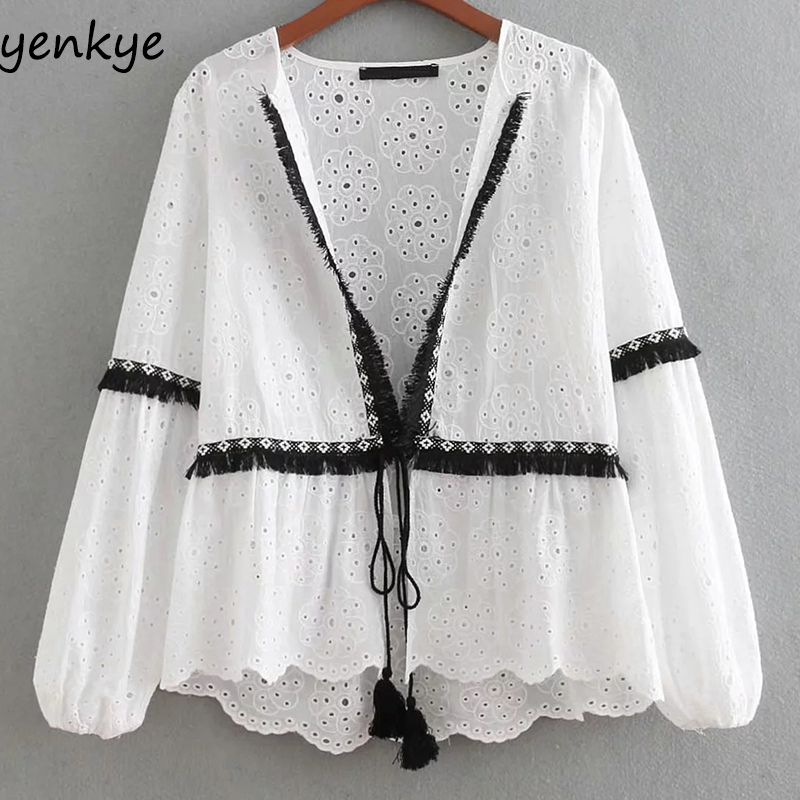 Women Contrasting Cutwork Embroidery Jacket Lady Long Sleeve Fringed Trims White Summer Jackets Tasselled String Thin Outerwear