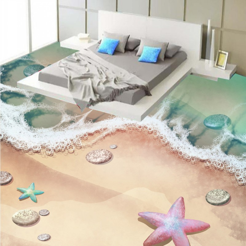 Free Shipping Hand-painted beach pebble starfish 3D floor mural kitchen home restaurant bar floor wallpaper