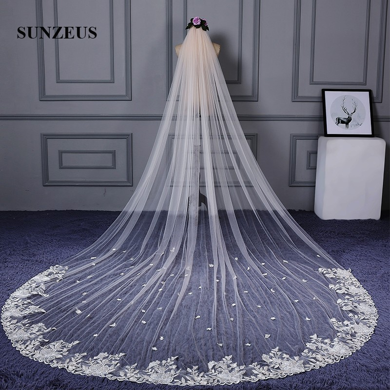 Champagne Tulle Approx 4 Meters Long Bridal Veils with Lace Appliques Charming Wedding Veil Accessories SBV40