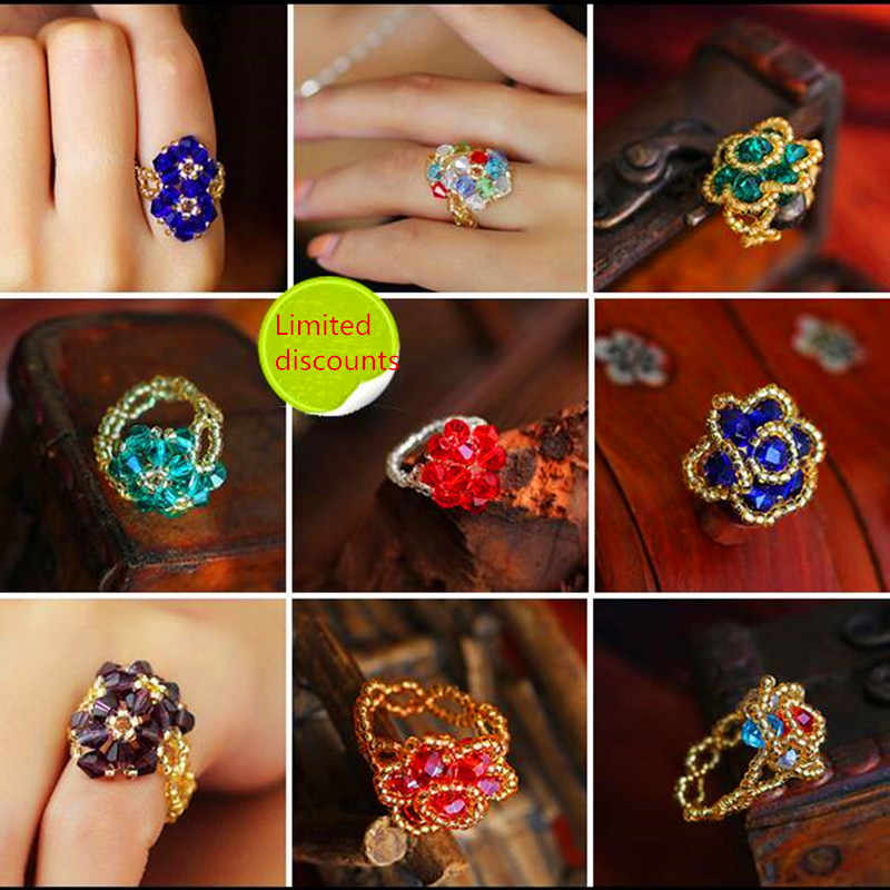 hot hot Retro personality national wind ring jewelry first red yellow  blue  crystal bead ring weaving women jewelry wholesale