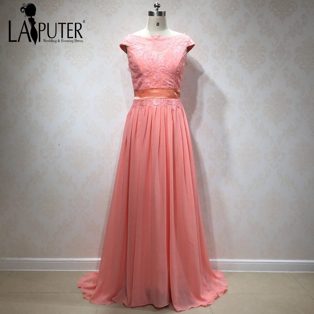 Bridesmaid dress collections promotion shop for promotional peach pink 2018 spring collection new arrival lace chiffon cap sleeves simple cheap bridesmaid dresses women party gown ombrellifo Images