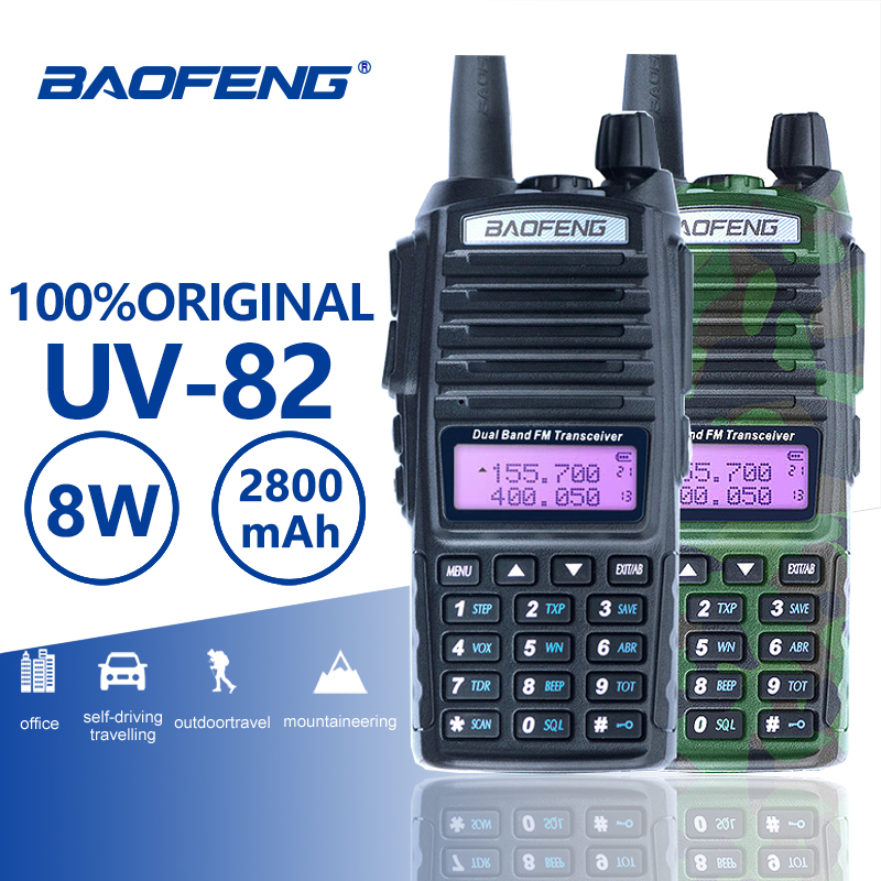 Baofeng UV-82 Talkie Walkie 10 km Double PTT Two Way Radio Dual Band Portable UV 82 Émetteur-Récepteur UV82 Woki Toki jambon CB Radio Station