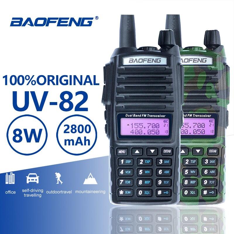 De Baofeng UV-82 Walkie Talkie 10 km Doble PTT dos Radio de banda Dual portátil de UV 82 transceptor UV82 Woki Toki ham Radio estación