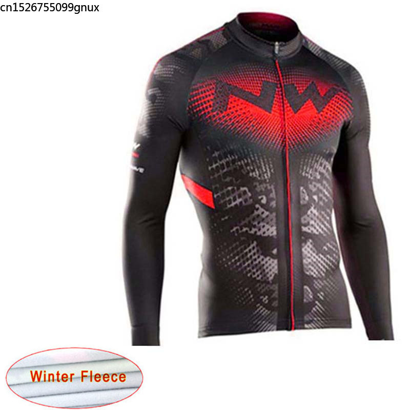 NW 2019 Winter Thermal Fleece Cycling Jersey Keep Warm Mountain Racing Bicycle Cycling Clothing Maillot Ropa Ciclismo Hombre C28(China)