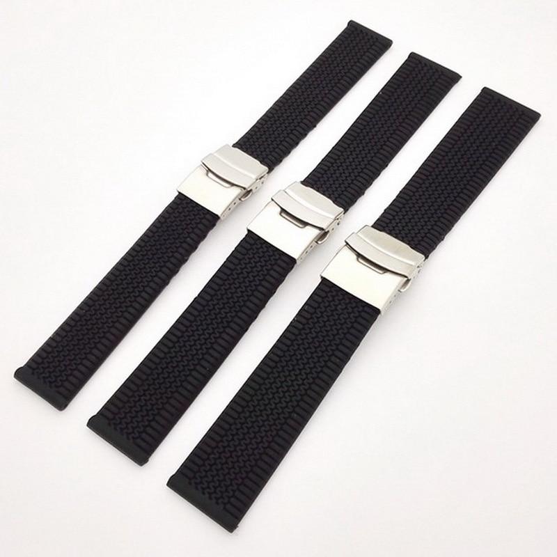 100% Kwaliteit Neway Zwart Rubber Horloge Band Siliconen Polsband Waterdichte Armband Roestvrij Staal Dubbelklik Vouwsluiting 20 22 24mm