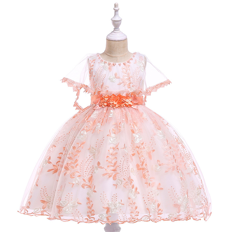 Ballgown Lace Orange   Flower     Girl     Dresses   for Evening Party First Communion   Dresses   Ball Gown Kids Formal Wear