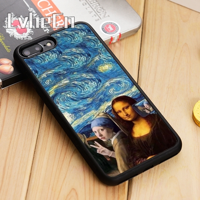 sale retailer 7a8d2 2a263 US $3.18 20% OFF LvheCn Spoof Mona Lisa Selfie Phone Case Cover For iPhone  4 5 5s SE 5C 6 6s 7 8 10 X Samsung Galaxy S6 S7 edge S8 S9 plus note 8-in  ...