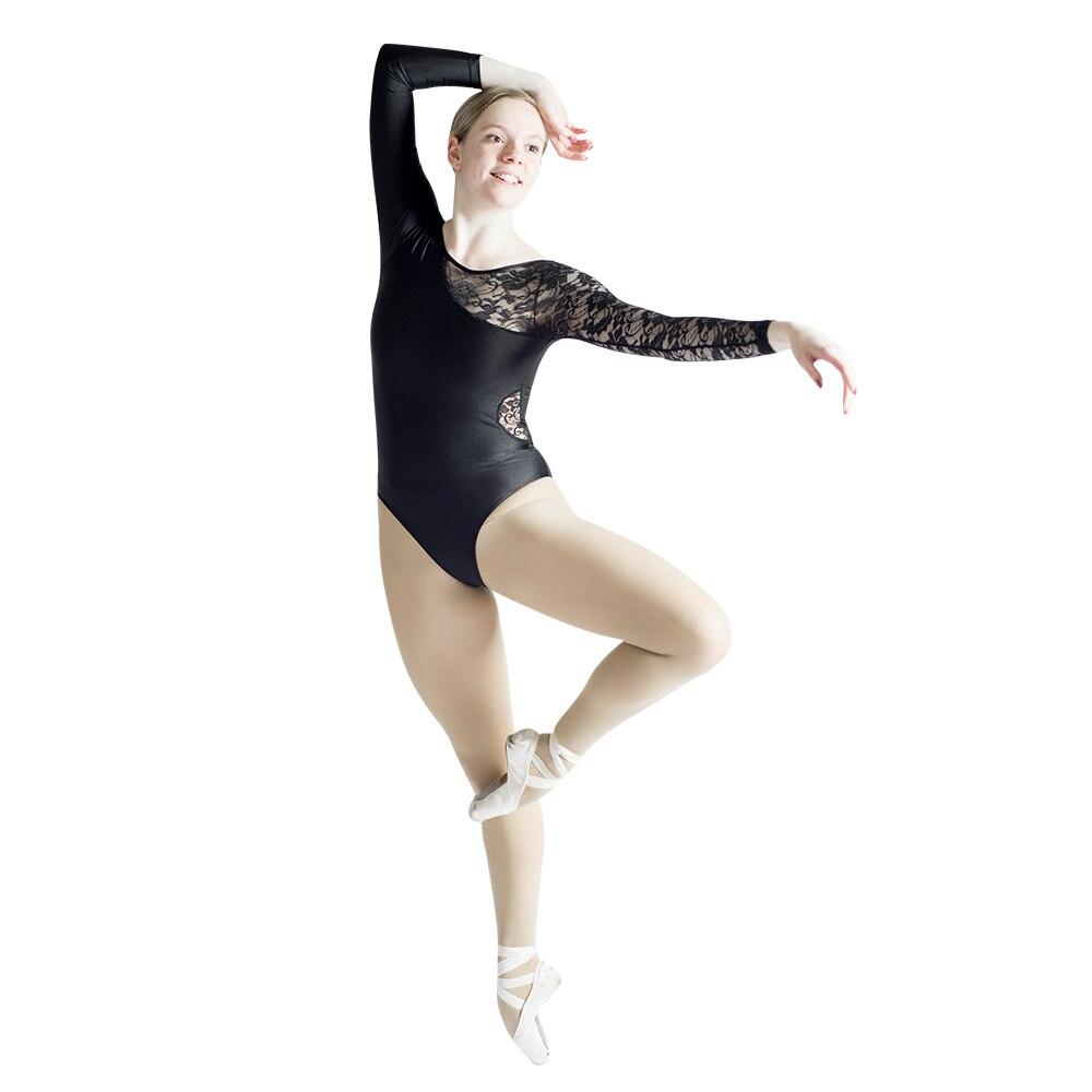 e05d4e0781 Black Gymnastics Nylon Lycra One Lace Sleeve Dance Leotard White Girls  Ballet Dancewear Women Bodysuit Costume